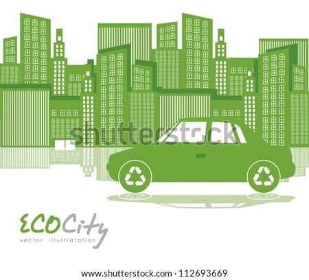 Illustration of green city with  car, ecological concept, vector illustration