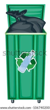 illustration of green dustbin on a white background - stock vector