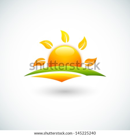 Illustration of green field and sun - stock vector