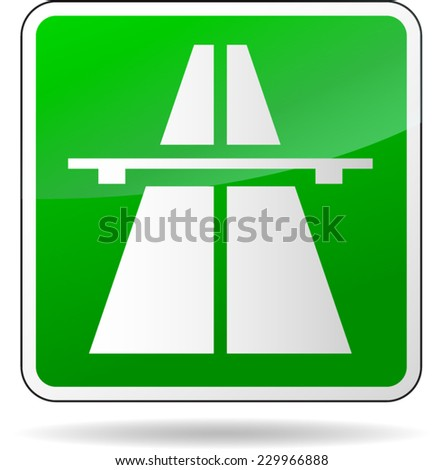 illustration of green freeway sign on white background - stock vector