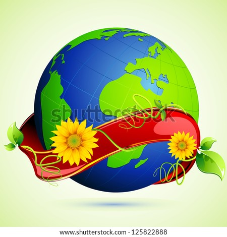 illustration of green globe wrapped with ribbon - stock vector