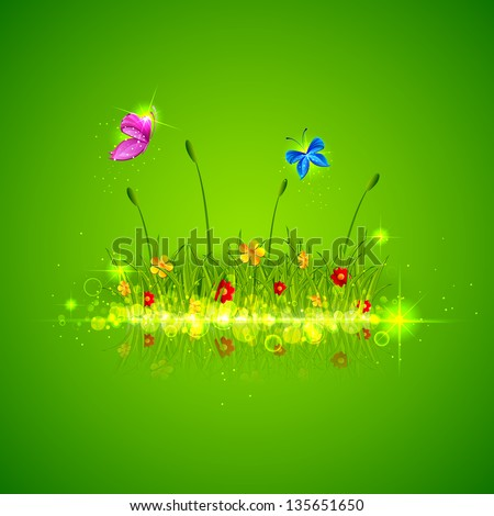 illustration of green grass with flower and butterfly - stock vector