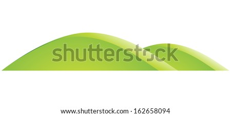 Illustration of Green Hills Cartoon isolated on a white background - stock vector