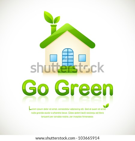 illustration of green home with leaf coming out of chimney - stock vector