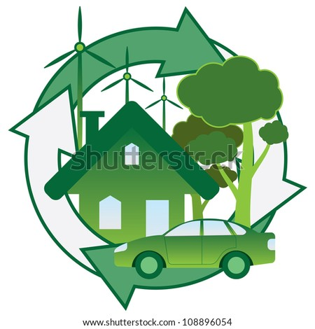 Illustration of green house, car, trees and windmill. - stock vector
