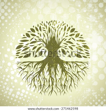 Illustration of Green Round Abstract Vintage Tree Background - stock vector