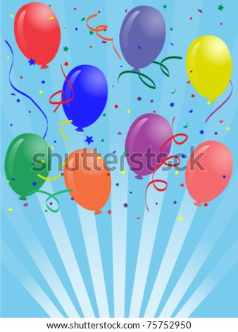 Illustration of Greeting card with colored party balloons and blue background - stock vector