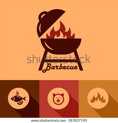 Illustration of Grill in Flat Design Style. - stock vector