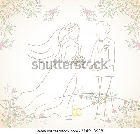 illustration of groom and bride with wedding  rings. Can be used as card or invitation. Vector - stock vector