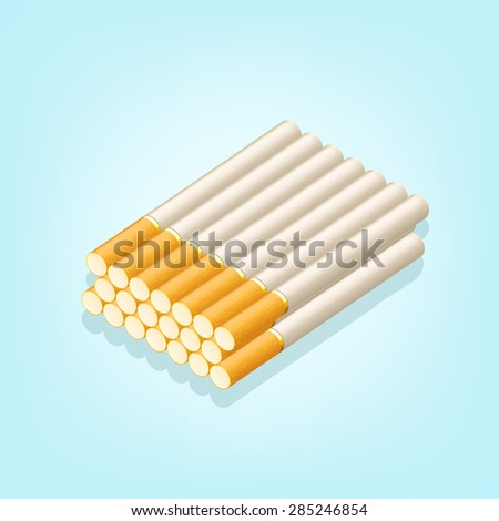 illustration of group of cigarettes on blue background - stock vector