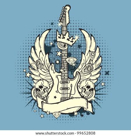 Illustration of grunge guitar - stock vector
