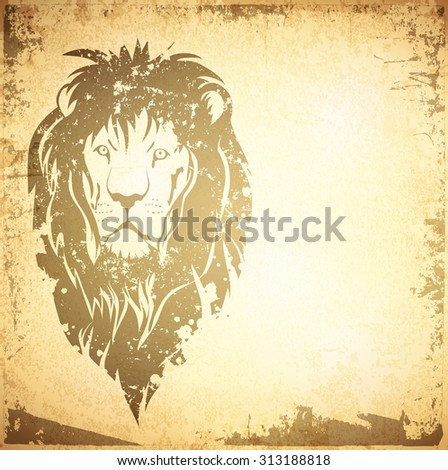 Illustration of Grunge Lion Vintage Background With Copyspace - stock vector