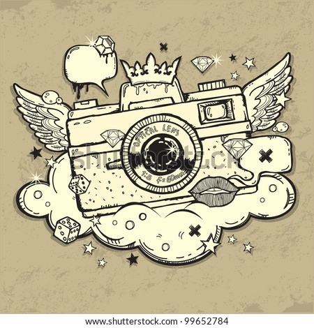Illustration of grunge photo camera - stock vector