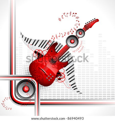 illustration of guitar and speaker on abstract musical background - stock vector