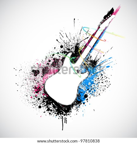 illustration of guitar shape with colorful grungy splash - stock vector