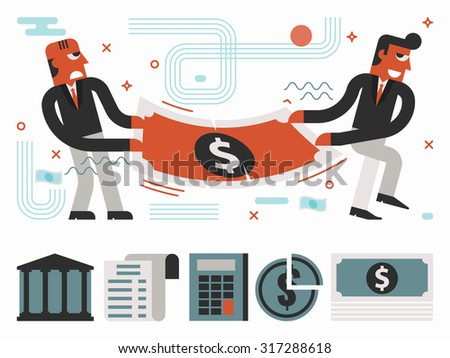 Illustration of guys fight over money concept - stock vector