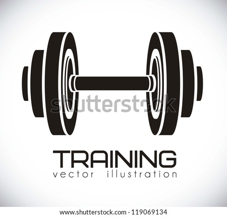Illustration of gym icons, dot background, vector illustration - stock vector