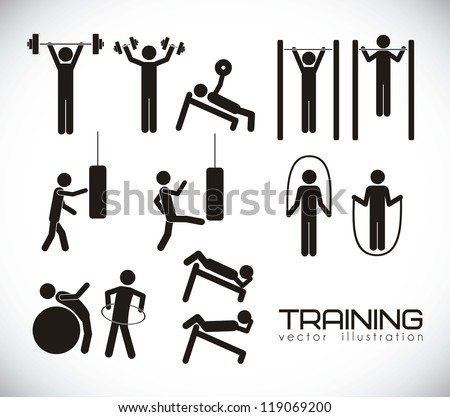 Illustration of gym icons, Gym icons set, vector illustration - stock vector