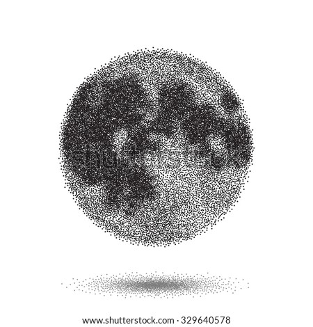Illustration of Halftone Moon Vector Icon. Tattoo Style Dotwork Moon EPS10 Icon