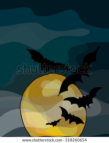 Illustration of Halloween. Bats and moon. Happy Holidays.