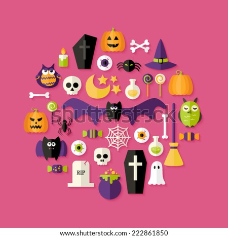 Illustration of Halloween Flat Icons Set Over Pink - stock vector