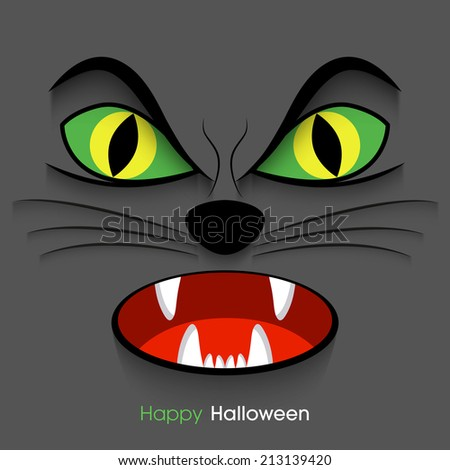 illustration of Halloween party invitation with intricate angry cat face. - stock vector