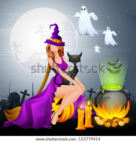 illustration of Halloween Witch preparing Poison in Cauldron - stock vector