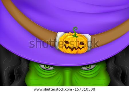illustration of Halloween witch wearing pumpkin hat - stock vector