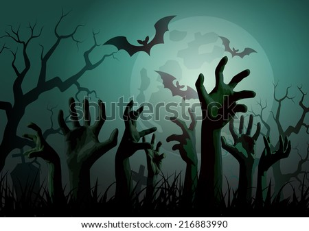 Illustration of Halloween Zombie Party. - stock vector