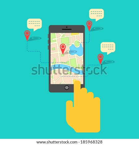 illustration of hand clicking gps map on mobile - stock vector