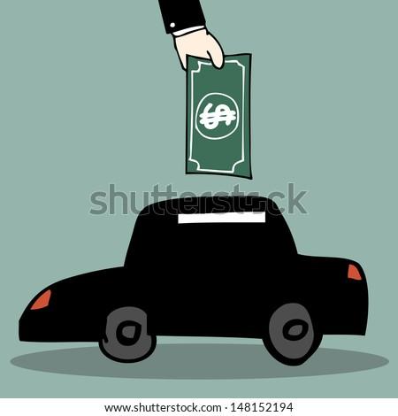 Illustration of hand drawn car piggy bank - stock vector