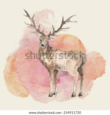 Illustration of hand drawn deer with watercolor background