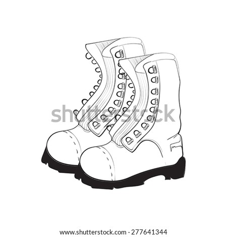 Illustration of hand drawn, doodle boots isolated on white background - stock vector