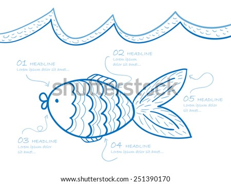 Illustration of hand drawn fish with notes - stock vector