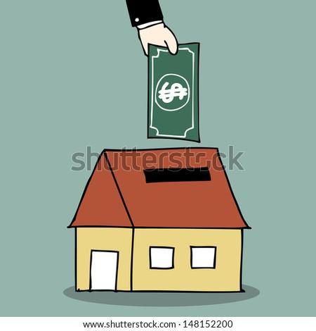 Illustration of hand drawn house piggy bank - stock vector