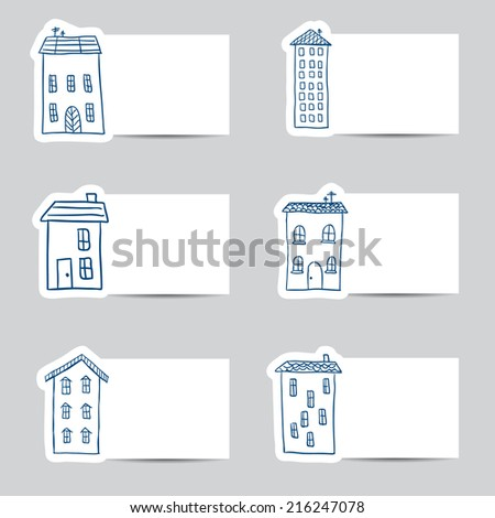 Illustration of hand drawn houses on small cards - stock vector
