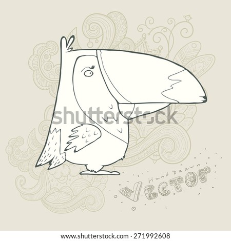 Illustration of hand drawn retro bird. Vector cartoon. The concept of the character on abstract floral background. - stock vector