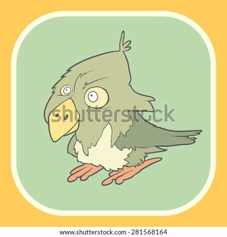 Illustration of hand drawn retro bird. Vector cartoon. The concept of the character on flat square background. - stock vector