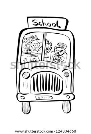 Illustration of hand drawn school bus - stock vector