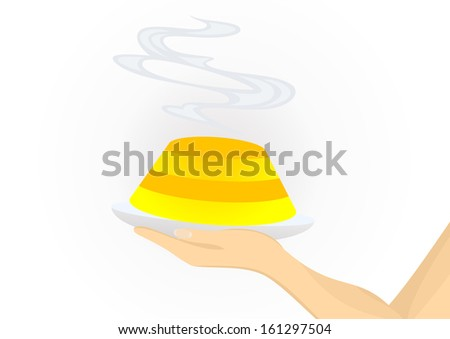 Illustration of hand holding tasty cake