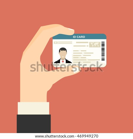 Illustration of hand holding the id card. Vector illustration flat design.