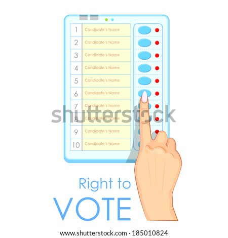 illustration of hand pressing Electronic Voting Machine in India