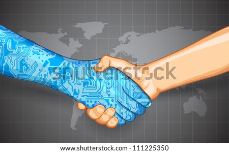 illustration of hand shake between technology and human - stock vector