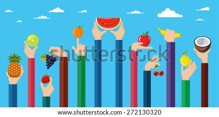 Illustration of hands holding different kinds of fruits. Vegetarian food icons. Flat design hand icons holding different types of fruit high against the sky. Vector illustration.   - stock vector