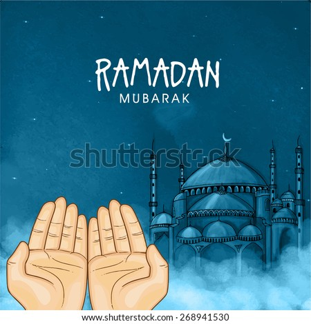Illustration of hands praying namaz (Muslim's Prayer) infront of mosque in blue night for Islamic holy month of prayers, Ramadan Mubarak celebration.  - stock vector