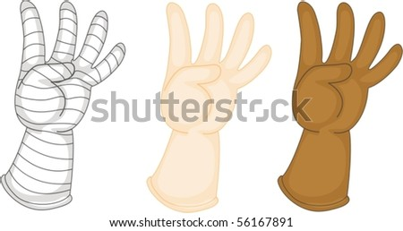 Illustration of Hands Showing Numbers on white background