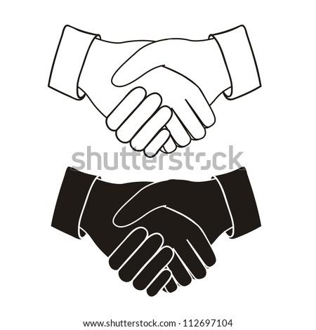 Illustration of handshake isolated on white background, vector illustration - stock vector