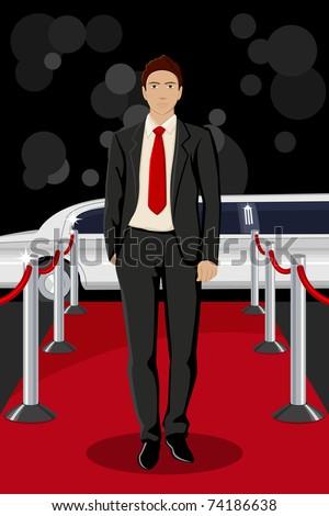 illustration of handsome male walking on red carpet - stock vector