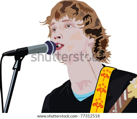 illustration of handsome man is singing a song