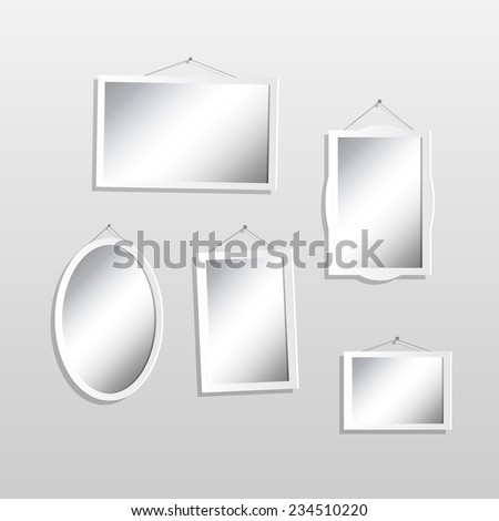 Illustration of hanging mirrors on a light background. - stock vector